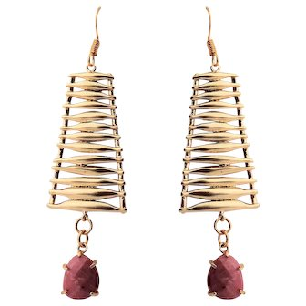 16KT Matte Gold Plated Over Brass Connector with Redwood Earrings