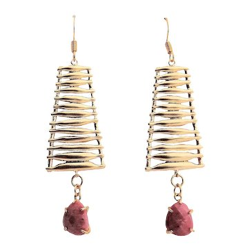 Matte Gold Plated Connector and Redwood Lines Rock Pendant Earrings