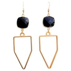 Designs by Ali Gold Plated and Natural Lapis Lazuli Bezel Earrings