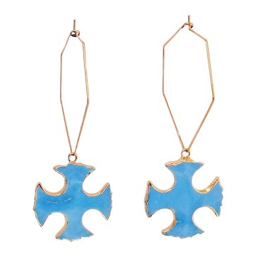 Glossy Gold Plated  Hoop with Gold Plated Electroplated and Turquoise Maltese Pendant Earrings