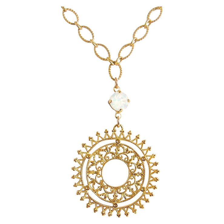 Designs by Ali Matte Gold Plated Chain and Spiky Filigree Pendant ...