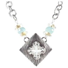 Designs by Ali Antiqued Silver Plated Chain and Pendant with Crystal Swarovski Necklace