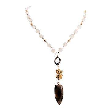 Designs by Ali White Rainbow Moonstone , Pyrite and Smoky Quartz Necklace