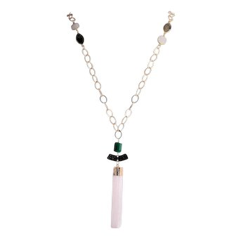 Designs by Ali Gold Plated Chain, Natural Rainbow Moonstone, Blue Labradorite with Natural Green Onyx and Selenite Necklace