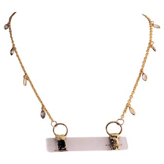 Designs by Ali Gold Plated Connector Chain with Selenite Bar Necklace