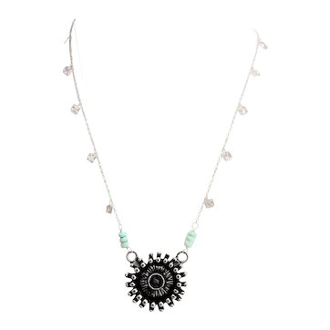 Sterling Silver,  Amazonite and Tribal Round Pendant Necklace