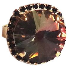 Designs by Ali Matte Gold Plated with Jet Crystals and Tabac Swarovski Ring