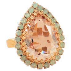 Designs by Ali Matte Gold Plated with Pacific Opal and Golden Shadow Swarovski Ring