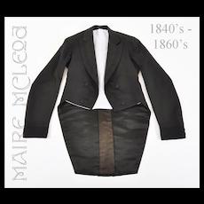 Antique 1840's - 60's Men's Dress Coat Tailcoat - S