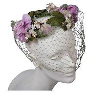 Vintage 50s Floral Hat Wreath - Green Net, Lavender Blossoms