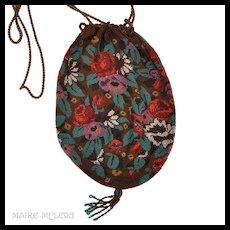 Antique c 1900 Micro Beaded Reticule Hand Bag OUTSTANDING