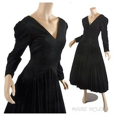 Vintage 1980s Bruce Oldfield Black Velvet Gown Dress - Very Princess Diana