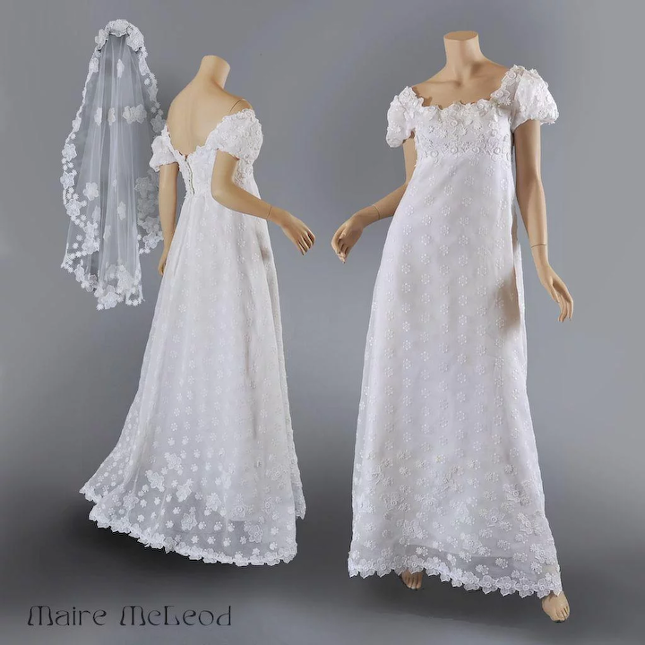 bdf7f482ce10 Vntg Priscilla of Boston 1960's Wedding Gown w / Veil S-M : Maire ...
