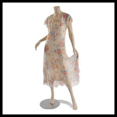 Vintage 1920's - 1930's Floral Chiffon Lingerie Dress - S