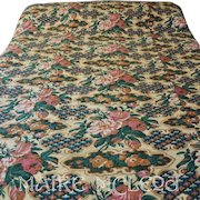 Antique Victorian c 1850s Pieced Whole Cloth Quilt -Roses