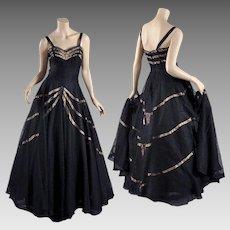 Hattie Carnegie 1940s - 50s Black Lace Gown - Lavish Full Skirt