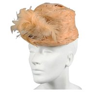 1930s - 40s Feather Cadet Style Hat *Gertrude Sheedy