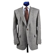 Vintage Harris Tweed Sport Coat Jacket - Blues, Gray, Cream - 42L
