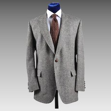 Vintage Harris Tweed Sport Coat Jacket - Blues, Gray, Cream - 42L
