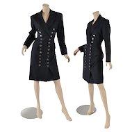 1980s Designer Lolita Lempicka, Paris Dress - Military Inspired