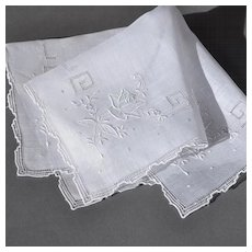 Vintage Embroidered Rose Handkerchief Hanky - Bridal, Wedding Heirloom