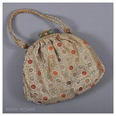 c 1950s Silk Brocade Evening Bag Purse, Ornate Clasp - Edbar, Hnd Md