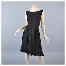 Black Silk Chiffon 50s-60s Cocktail Dress /Fay Hoosin Lgr Size