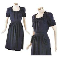 Navy Crepe 1940's Dress - Puff Trim, Fine Quality - S / M