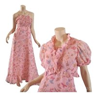 Sally Milgrim 1970s Gauze Floral  Maxi Dress w / Bolero Jacket  S / M