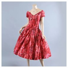 1950s Silk Party Cocktail Dress, Neiman Marcus S