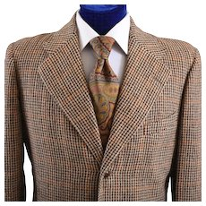 Mens 1940s - 50s Houndstooth Tweed Jacket - 40 L
