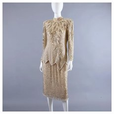 Vintage Oleg Cassini Flapper Style Beaded Dress M