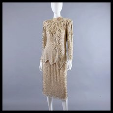 Vintage Oleg Cassini Flapper Style Beaded Dress M