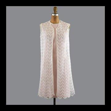 Pink Linen 60s Sheath, Lace Dress