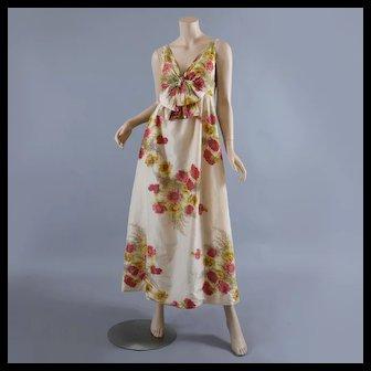 1970s Floral Silk Dress, Maxi Long Empire