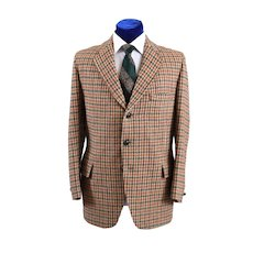 Unique 1960s Harris Tweed Check Mens Sport Coat Jacket 43-44