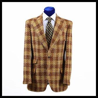 Dapper Vintage Scottish Tweed Oversize Check Sport Coat Jacket 39-40