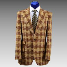 Dapper Vintage Scottish Tweed Oversize Check Sport Coat Jacket 39-40