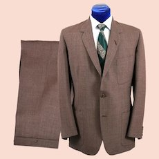 Vintage 1960s Mens Brownish Pinstripe Suit, Mohair Blend 43-44