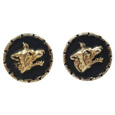 Vintage Wolf Head Cufflinks, Wolf Cuff Links, Gold Tone Snarling Wolf, Father's Day Gifts for Men