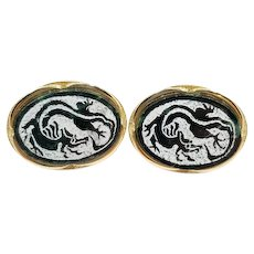 Vintage Signed Swank Painted Dragon and Nephrite Jade Cufflinks