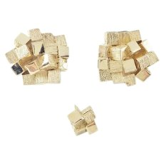 Vintage Signed Dante Gold Tone Cube Cluster Cufflinks with Matching Tie Tack Gold Tone Nugget Ore Cuff Links Men's Jewelry