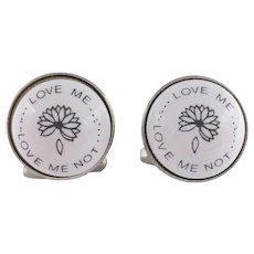 He Loves Me He Loves Me Not Cufflinks Signed Duchamp London Porcelain Cufflinks Men's Jewelry Accessories Gifts