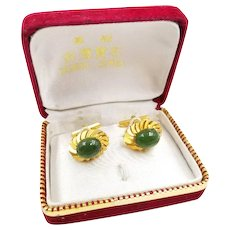 Vintage Green Nephrite Jade Cufflinks with Gold Plated Setting in Original Taiwan Jewel Box, Men's Jewelry Accessories Gifts