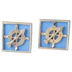 Vintage Compass Cufflinks, Ship Wheel Cuff Links, Nautical Navigation Cufflinks, Men's Jewelry, Gifts, Accessories