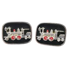 Vintage Train Cufflinks Signed SWANK, Engine Locomotive Cuff Links in a Shadow Box Style, Vintage Men's Jewelry, Train Gifts Accessories