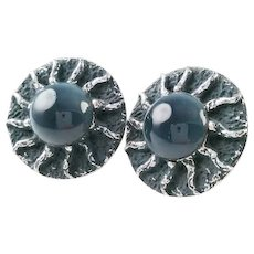 Mid Century Modernist Gray Sunburst Cufflinks with Grey Glass Center and Spiral Sun Beam Rays, Atomic Style Men's Jewelry, Gifts, Accessories