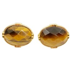 Vintage French Couture Designer L'Aiglon Faceted Tiger's Eye Stone Cufflinks