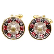 Vintage Working Roulette Wheel Cufflinks Signed AUSTRIA, Gambling Cuff Links