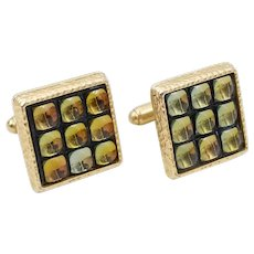 Vintage Signed ANSON Stained Glass Window Cufflinks, Fall Tone Men's Jewelry